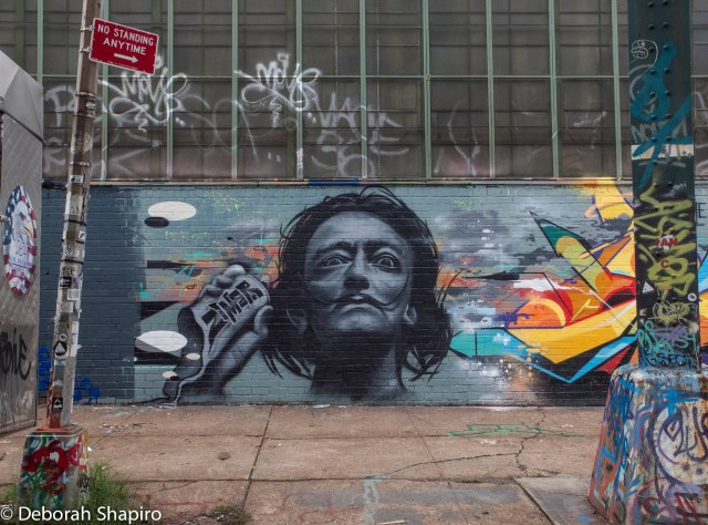 Salvador Dali with spray can