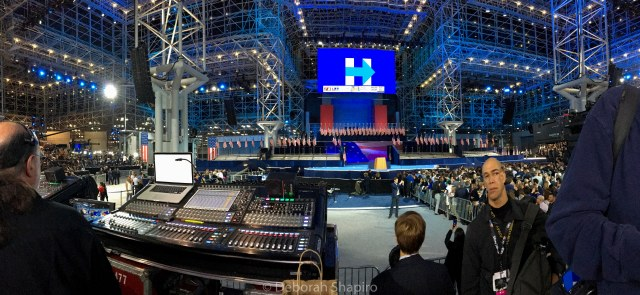 Panorama of the Javits Center with empty podium