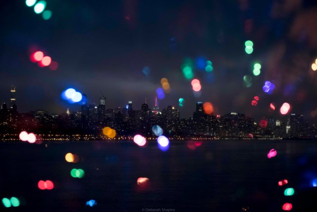 Manhattan skyline with holiday lights