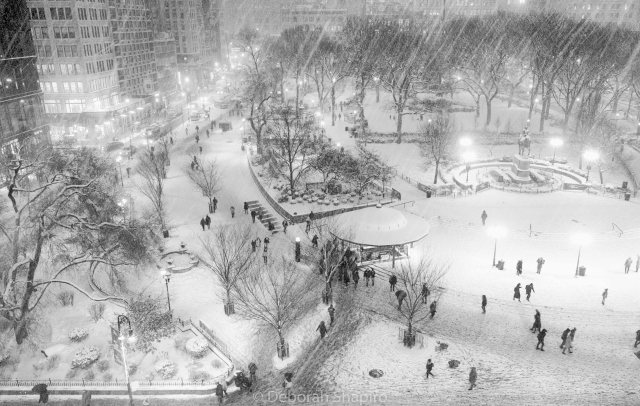 Snowy January evening in Union Square